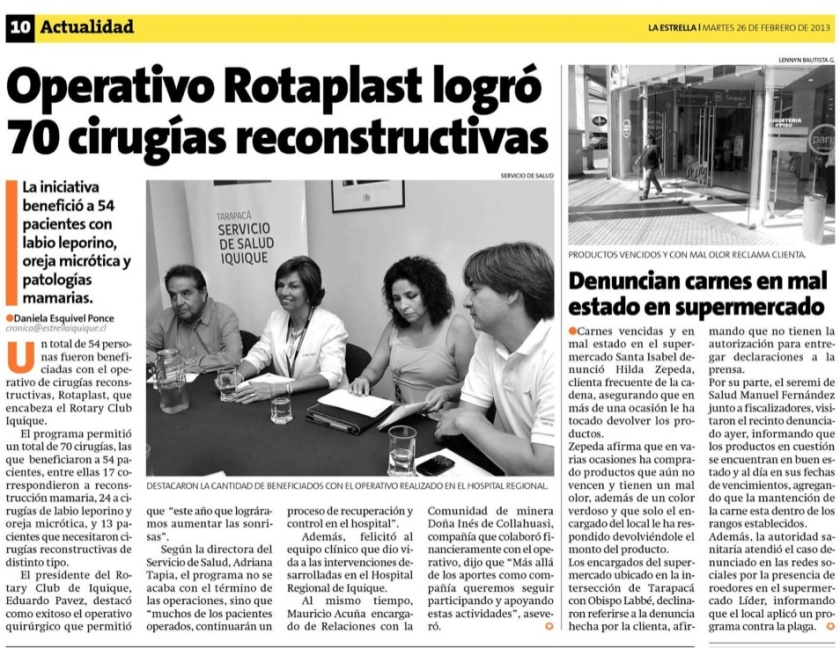 Rotary Club Iquique realiza Operativo Rotaplast