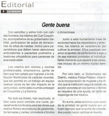 """Editorial del Diario La Región de Coquimbo, titulado """"Gente Buena"""", del 29 de octubre de 2014"""