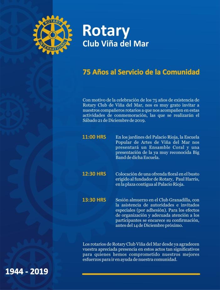 INVITACION ROTARIOS ANIVERSARIO RC VIÑA DEL MAR 2019